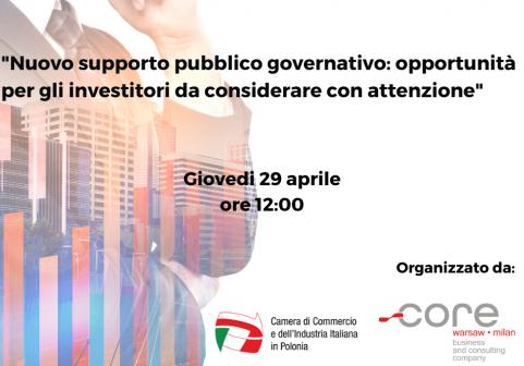 Webinar – Nuovo supporto pubblico governativo: opportunità per gli investitori da considerare con attenzione