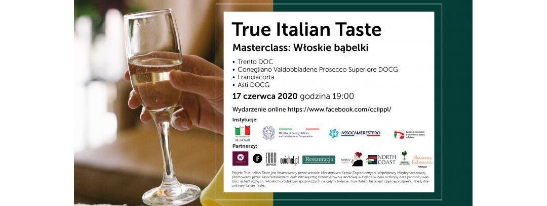 Aperitivo Italiano on-line, True Italian Taste: le bollicine italiane
