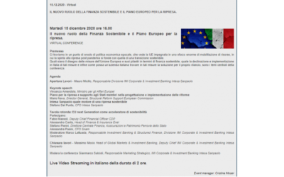 Virtual Conference: Il nuovo ruolo della Finanza Sostenibilee il Piano Europeo per la ripresa