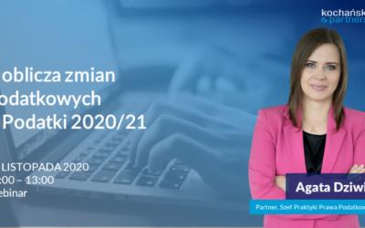 Webinar: Cztery oblicza zmian podatkowych– Podatki 2020/2021